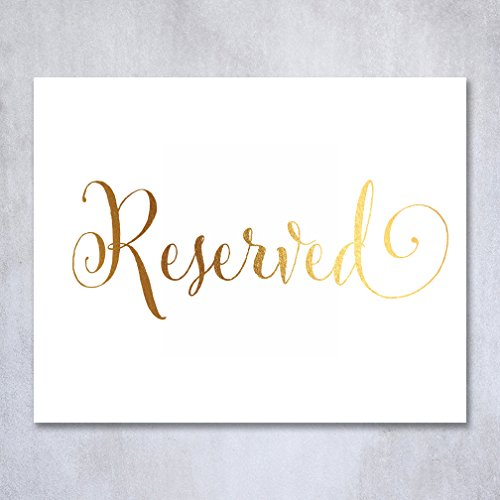 Reserved Gold Foil Print Wedding Reception Seating Sign Silver Foil Table Signage Place Card Party 8x10 5x7 Bridal Party Metallic Art