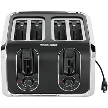 BLACK+DECKER 4-Slice Toaster, Traditional Square, Black with Stainless Steel Accents, TR1400SB