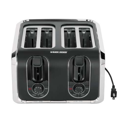 BLACK+DECKER 4-Slice Toaster, Traditional Square, Black with Stainless Steel Accents, TR1400SB by BLACK+DECKER