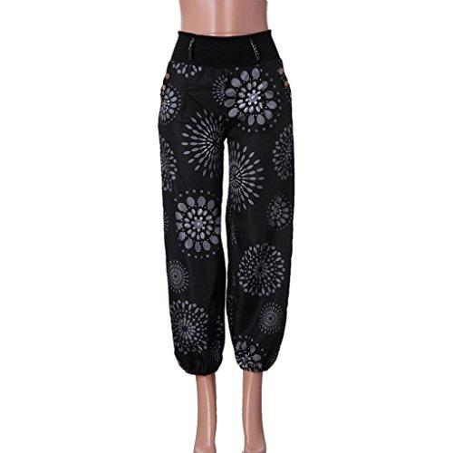 Moonuy imprim Pantalons Pantalon Lache Ladies Pantalon Floral Digital Femmes Pantalons avec Stretch Femme Noir Femme Workout passante Large Large Lace Large Bande Leggings Pantalon Hareem rCrPFx