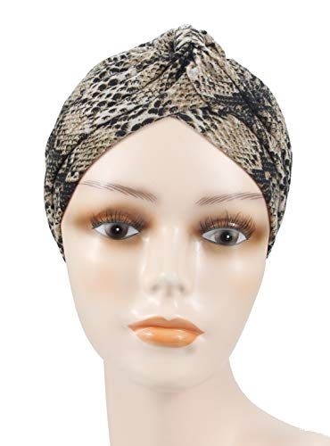 Women's Cotton Elastic Turbans Head Wrap Chemo Beanie Hair Loss Hat Sleep Bonnet (Snake Coffee)