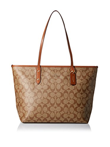 Brown Khaki Bag - Coach Signature City Zip Tote - Khaki/Saddle