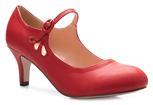 OLIVIA-K-Womens-Kitten-Low-Heels-Round-Toe-Mary-Jane-Pumps-Adorable-Vintage-Retro-Shoes-Unique-Side-Cut-Out-Design