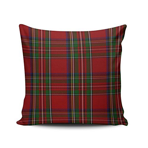 SALLEING Custom Fashion Home Decor Pillowcase Red Stylish Royal Stewart Tartan Plaid Euro Square Throw Pillow Cover Cushion Case 26x26 Inches One Sided Print (Custom Shams Pillow)