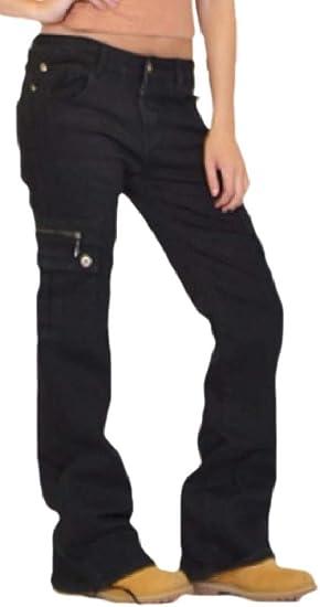Fly Year-JP 女性カーゴパンツジッパーコンバットズボンファッションミリタリースタイルジーンズ