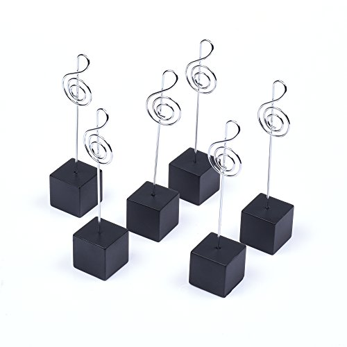 BCP Pack of 6 Black Color Cube Wire Base Memo Clips Place Card Holder Tabletop Photo (Cube Clip Memo Holder)