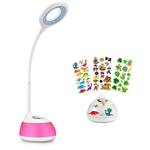HIHIGOU Lampara Escritorio LED 3.5W USB de carga 3 niveles de brillo con brazo tipo cuello de cisne RGB Luz de Ambiente Control Tactil 16 Bombillas LED (Bajo consumo, proteccion para los ojos)