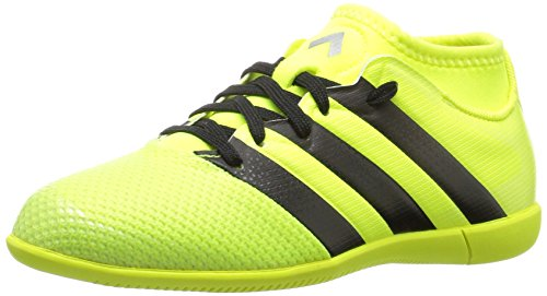 adidas Performance Kids' Ace 16.3 Primemesh Indoor Soccer Cleats, Solar Yellow/Black/Metallic Silver, 2 M US Little Kid