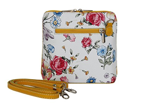 de bandolera Mujer Bolsos Bolso AMBRA Moda pequeño Gelb de cuero hombro Blumen VL508 ICI0XY