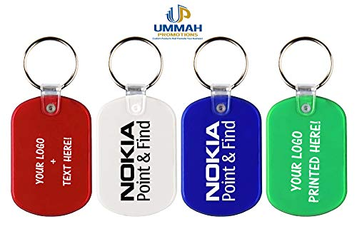 100 Personalized Oval Soft Plastic Key Tag Printed with Your Logo or Message