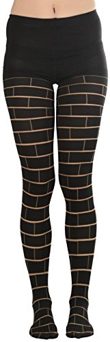 (ToBeInStyle Women's Brick Print Spandex Pantyhose - MULTICOLOURED)