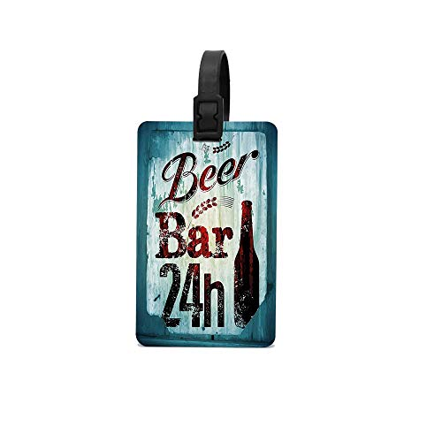 MichelleSmithred Grunge Beer Bar 24h Figure Old Pub Sign Emblem Restaurant Graphic Design Travel Luggage Tag Suitcase ID Tags Baggage Handbag Tag Labels