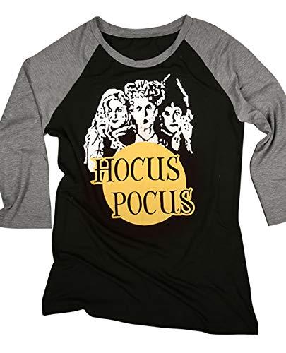 kikisa Halloween Hocus Pocus Baseball T-Shirt Costume Women's Funny Casual Splicing Top (X-Large, -