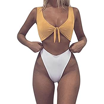 3f863e06325ea Two Piece Swimsuit,Leewos Women Knotted Thong Bikini Solid Pattern Swimwear  High Waist Beachwear (White, XL)