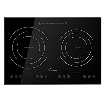 Image of Empava IDC12B2 Horizontal Electric Stove Induction Cooktop with 2 Burners in Black Vitro Ceramic Smooth Surface Glass 120V, 12 Inch Home Improvements