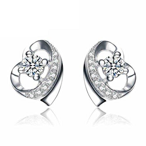 Erica 925 Boucles d'oreilles en forme de coeur en forme de coeur Simple Stud Hypoallergénique cadeau pour les femmes