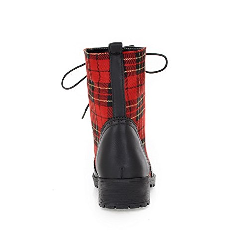 Round 7 US AmoonyFashion Assorted M with Toe Closed Plush Checks Low 5 Boots Colors Heels B PU Short Womens Black rEHERzxwZ