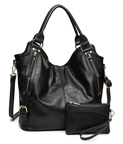 Large Hobo Black Handbags - Women Tote Bag Handbags PU Leather Fashion Hobo Shoulder Bags with Adjustable Shoulder Strap (Black)