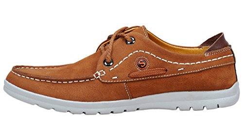 T&Mates Cyber Monday Mens Classic Leather Bahamas 2-eys Lace Up Casual Boat Shoes
