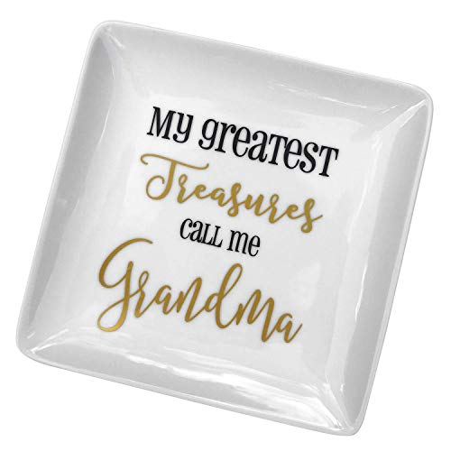 Grandmother Gifts Jewelry Trinket Dish Plate Holder for Grandma Mother's Day My Greatest Treasures