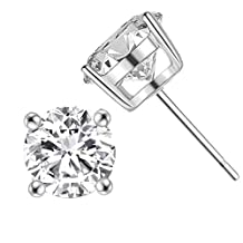 YL Women's Stud Earrings 925 Sterling Silver Simulated Diamond Round Earrings Cubic Zirconia Jewelry with 18K White Gold Plated
