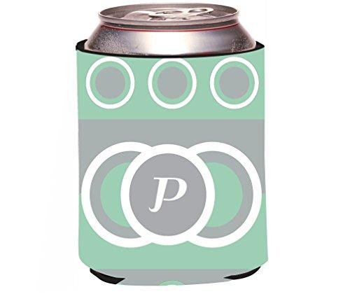 "Rikki Knight RKws-KOOZIE-43240 ""Letter P Monogrammed Initial Mint Green Circle Design"" Spring Fashion Colors 2014 Design"" Beer Can/Soda Drink Cooler Koozie"