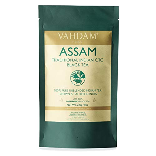 - Vahdam Premium CTC Assam Black Tea- English Breakfast Tea| Full Bodied, Bold, Magnificent & Delicious| Irish Breakfast Tea for the Connoisseur in You| Brews the Perfect Kombucha (8 Ounces, 226 grams)