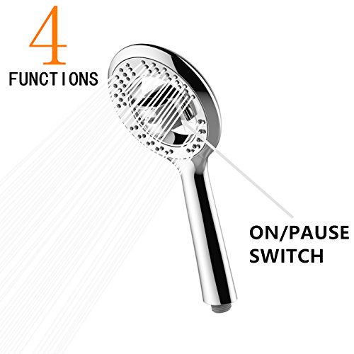 Handheld Shower Head, High Pressure 4 Setting Universal Handshower with on/off Function, 5.2