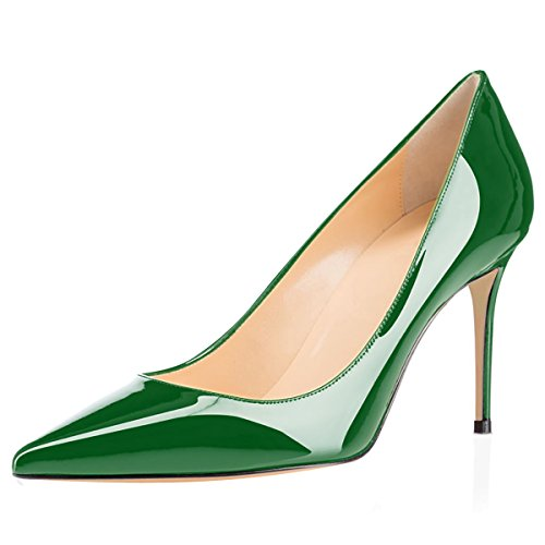 Eldof Women's High Heel Pumps Classic 3.2in Patent Pointed Toe Stilettos 8cm Wedding Party Dress Pumps Green US6