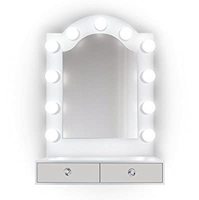 Krugg 25 inch x 31 inch Lighted Hollywood Arch Vanity Mirror   Makeup Mirror with Storage  Table Top Or Wall Mount   Plug-in