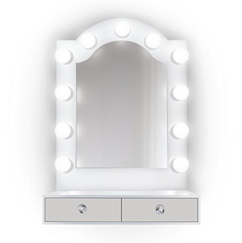 25 inch x 31 inch Lighted Hollywood Arch Vanity Mirror | Makeup Mirror With Storage| Table Top Or Wall Mount | Plug-in by Krugg (Image #1)
