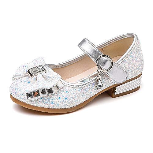 (SOFMUO Little Girls Ballet Mary Jane Flats Sparkle Bowknot Ballerina Wedding Party Princess Dress Shoes (Toddler/Little Kids) Silvery)