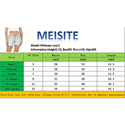 MEISITE Womens Juniors Denim Shorts High Waist Ripped Hole Washed Distressed Short Jeans at Women's Clothing store