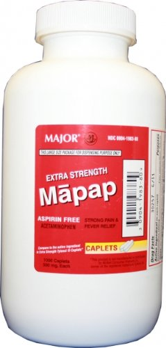 Mapap Caplets, Extra Strength 500mg, 1000 CT -  MAJOR PHARMACEUTICALS