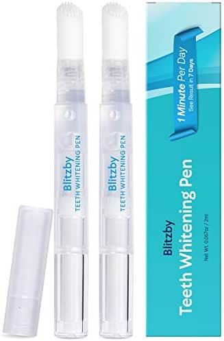 Blitzby Teeth Whitening Pen 2 Pens, 30 Plus Uses Effective, Painless, No Sensitivity, Travel-Friendly, Easy To Use, Beautiful White Smile