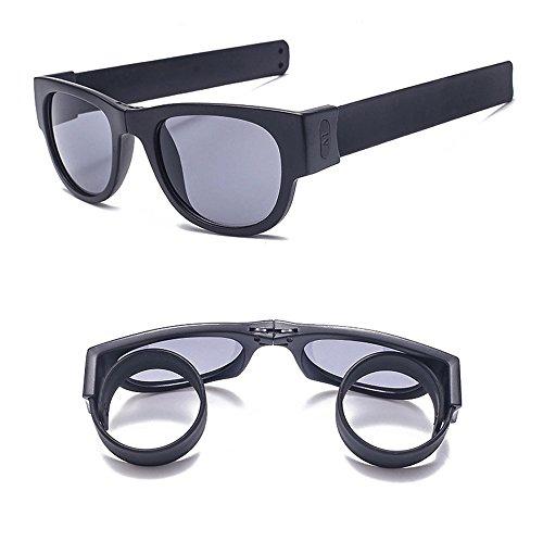 222822de0c0 Flee Slap Folding Sunglasses and Wristband Fashion Polarized Sunglasses for  Driving Action Sports (Black
