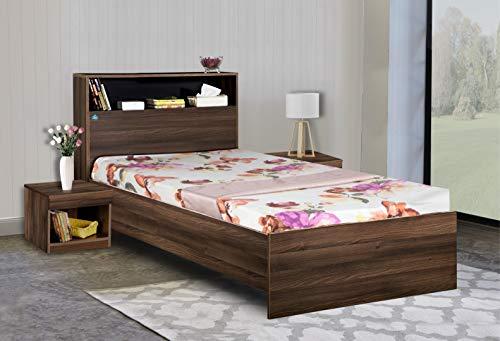 Delite Kom Bedroom Urban Engineered Wood Single Size Bed with Headboard Shelf, Acacia Dark