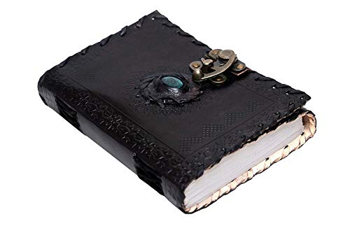 - Black Leather Journal with Semi-Precious Stone & C-Lock Closure Leather Diary Gift for Him Her