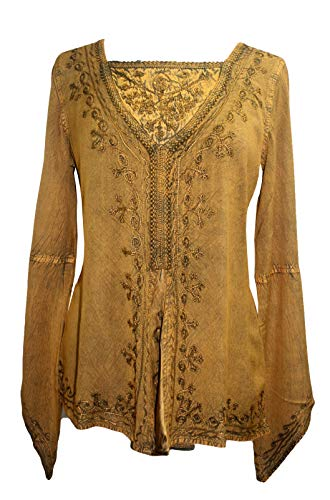 01 B Traders Womens Bohemian Medieval Blouse Top (Medium, Old Gold)