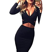 Memorose Womens Sexy Long Sleeve Cut-Out Bandage Bodycon Clubwear Midi Dress