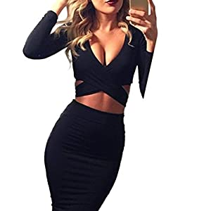 2. Memorose Long Sleeve Cut-Out Bandage Bodycon Clubwear Midi Dress