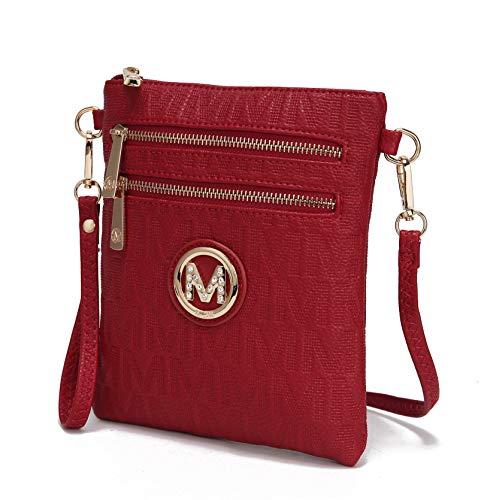 MKF Crossbody Bag for women - Removable Adjustable Strap - Vegan leather wristlet Designer messenger Purse Red