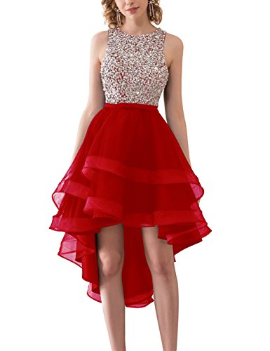 Red Neck Women's Round Dress Low Homecoming Back Tulle Open Bess High Beaded Bridal w75qxIT4X
