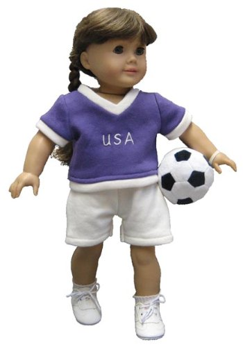 - Purple and White Soccer Outfit with Plush Ball. Fits 18