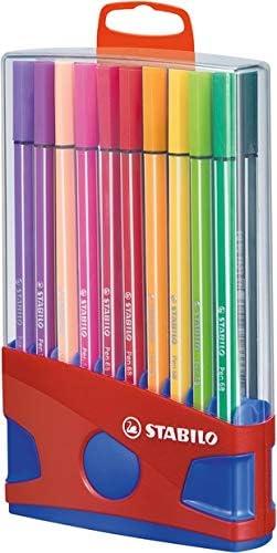 Premium Filzstift Stabilo Pen 68 Colorparade 20er Tischset In Rot Blau Mit 20 Verschiedenen Farben Und Hängelasche Bürobedarf Schreibwaren