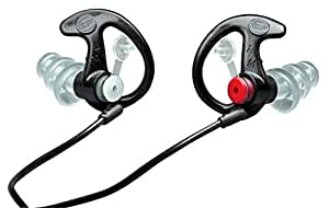 SureFire EP4 Sonic Defenders Plus filtered Earplugs, triple flanged design, reusable, Black, Small