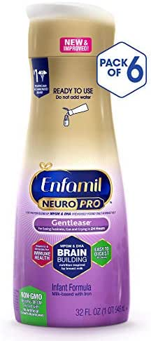 Enfamil NeuroPro Gentlease Baby Ready to Feed Milk Formula, 32 Fluid Ounce (6 Count), Omega 3 DHA, Probiotics, Iron