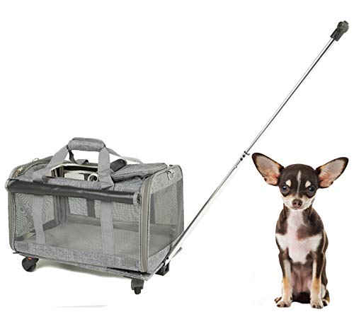 Airline Approved Pet Wheels Carrier for Large Cats Under 25 lbs, Small Dogs, Puppies, Small Animals, Pet Travel Carrier for Outdoor, Foldable Portable Pet Stroller 19.6 in 12.2 in 12.2 in (Grey)
