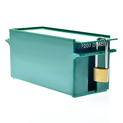 Nadex Large Capacity Rolled Coin Storage Box for Dimes | 200 Dollar Capacity, Lockable Green Wrapped Dimes Tray -