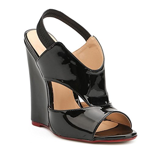 L@YC Women's Shoes PU Slope With Summer Comfort Heels For Casual Black Black